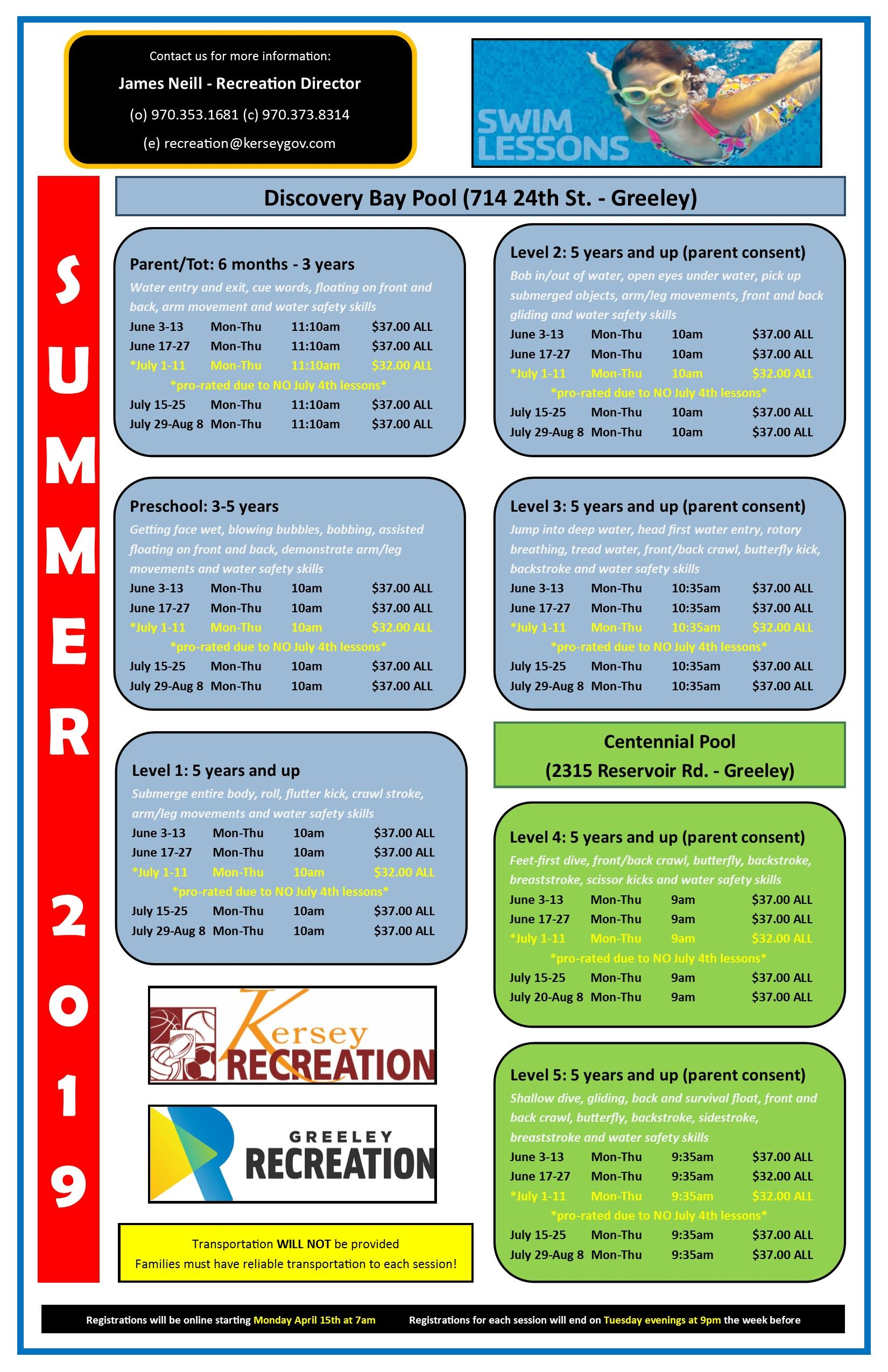 Swimming Lessons 2019 Flyer